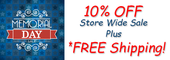 Memorial Day Sale 10% off Plus Free Shipping on $75 or more.