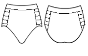 Dance pantie with binding on sides.