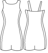Scoopneck cami biketard with side panels