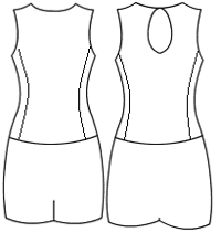 Low bodice keyhole back with side panels