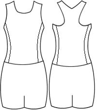 Low bodice t back with side panels