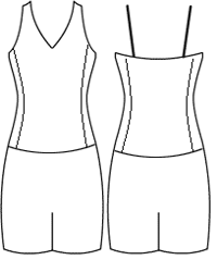 Low bodice V cami with side panel