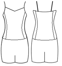 Low bodice V binded cami with side panels