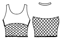 Scoopneck halter with mesh