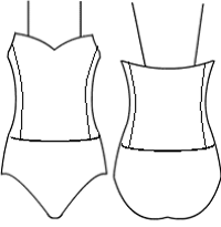 Low bodice sweetheart with side panels