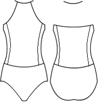 Low bodice triangle halter with side panels