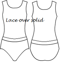 Low bodice basic scoop with lace overlay and band