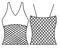 V Neck camisole with mesh tankini